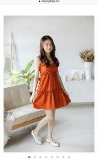 Burnt orange babydoll layered mini dress