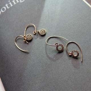 14k包金藍鑽&中空白鑽耳環
