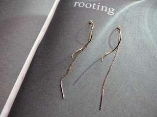 18k包金波浪耳線耳環