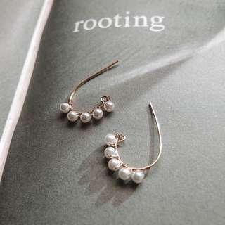 18k包金排列珍珠耳環