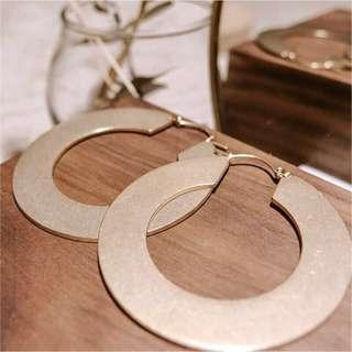 銀/金 鈦鋼復古圓盤耳環