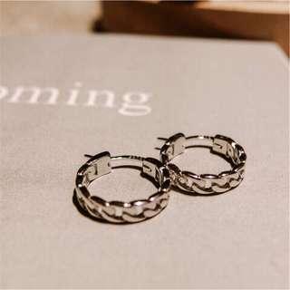 銀/金 /鐵灰 麻花925純銀圓環耳環