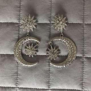 FREE SHIP moon and star earrings