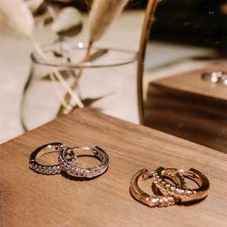 14k銅鍍金水鑽圓環耳環評