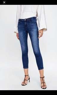 ZARA Dark Blue/Washed Ankle Skinny Jeans