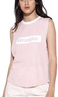 Wrangler pink muscle singlet size 10