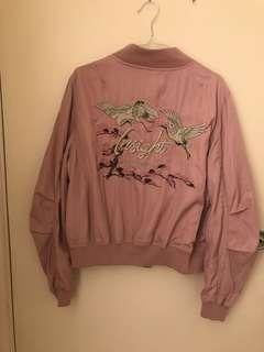 Embroided Dusty Pink Bomber Jacket