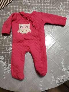 0-3月長袖嬰兒外衣 貓頭鷹 包腳啪鈕