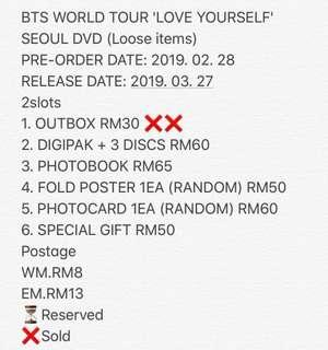 (Loose items) BTS WORLD TOUR 'LOVE YOURSELF' SEOUL DVD