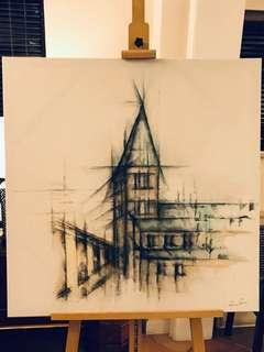 Alley Charcoal & Water Colour on Canvas - Authentic Constantine & Schwarz Piece
