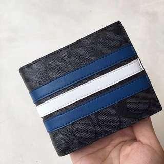 Coach / 蔻馳 時尚條紋系列 26072 短夾 對折錢包 福利款
