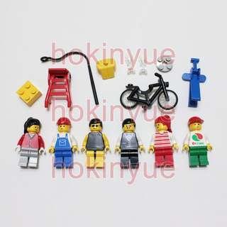 LEGO 6314 City People 樂高城巿系列 巿民人仔連配件 單車 水杯 手推車