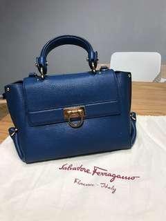 Ferragamo Navy Blue top handled handbag