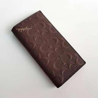 Coach Flap Wallet Embossed - Saddle