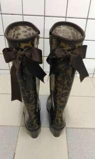 女咖啡高跟豹紋氣質蝴蝶結雨鞋 女黑色帥氣平底雨鞋