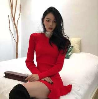 Red flutter ends long sleeve dress