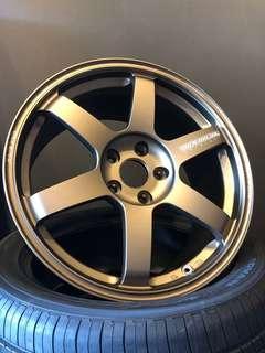 "BN Rays Volk Racing TE37 Saga 18"" Rims, 5x114.3, 18""x8.5"", Offset 42"