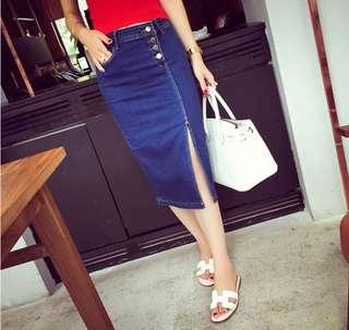 🚚 BN Denim Button Skirt in Size M