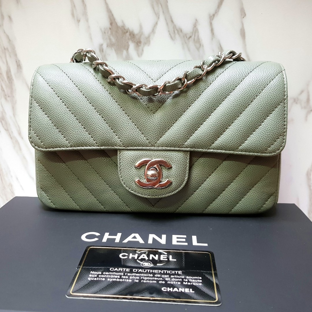 00f58d74eb7e 100% AUTH] CHANEL Olive Khaki Green Chevron Rectangular Mini classic ...