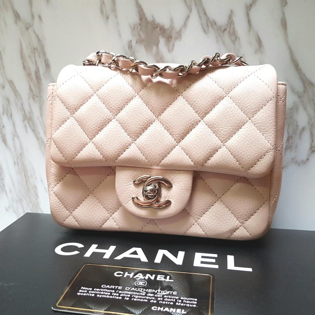 0453e5c0f1ee 100% AUTH] CHANEL Powder blush pale pink Square Mini bag in CAVIAR ...