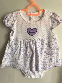 White with purple Pokka dot baby dress