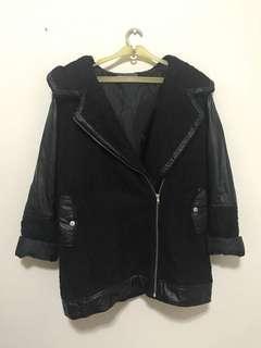 Black Jacket with Faux Leather Detail Jaket Musim Dingin