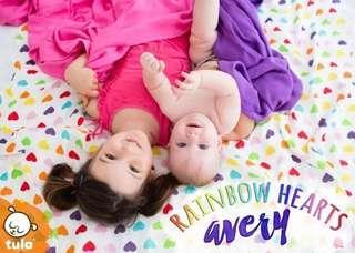 BN Tula Blanket Set - Rainbow Hearts Avery