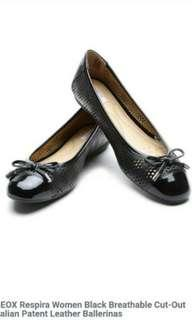 Geox Respira BLACK Patent Cut Out Leather Ballerina Flats