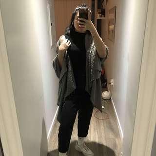 Grey Blanket Scarf / Cardigan / Poncho