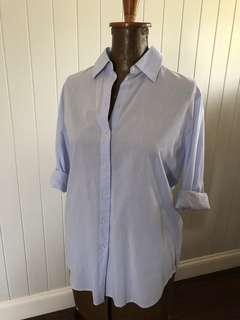 Blue button up shirt star buttons