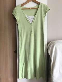 Nursing and maternity green dress