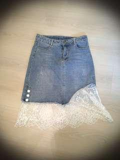 Denim skirt with lace bottom