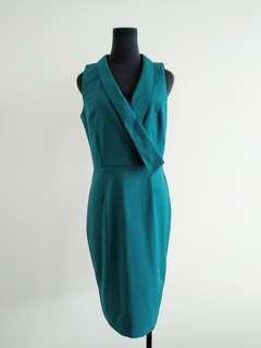 Retro Paper Dolls teal Blue pencil dress AU 10
