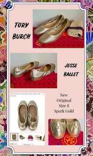 TORY BURCH JESSE BALLET FLAT SHOES GOLD AUTHENTIC