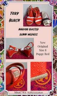 TORY BURCH MARION QUILTED WEDGES 85MM POPPY RED AUTHENTIC