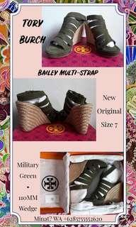 TORY BURCH BAILEY MULTI-STRAP WEDGES 110MM MILITARY GREEN AUTHENTIC