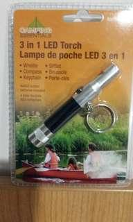 BRAND-NEW, UNOPENED 3 in 1 LED FLASHLIGHT+WHISTLE+COMPASS KEYCHAIN w/ batteries included