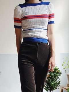 🚚 條紋 針織 白色 藍色 紅色 五分袖 短袖 上衣 古著 二手