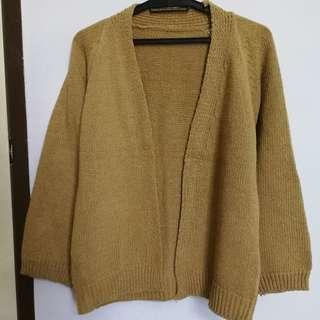 Loose Fit Thick Brown Knitted Cardigan