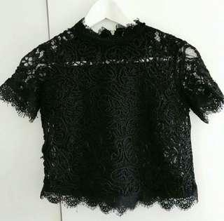Zara Lace Top - Dark Gray