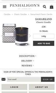 Penhaligon's Samarkand candle 香薰蠟燭