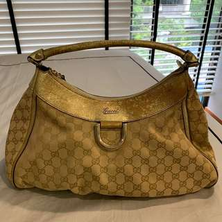 fd1fdd774a Gucci Beige GG Canvas Gold D Ring Hobo Bag