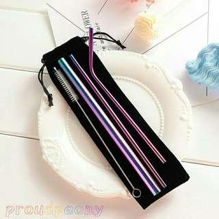 INSTOCK Stainless Steel 5 PCS Straw Set Ombre Silver