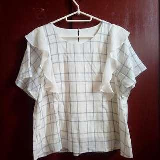 Offwhite Checked Blouse