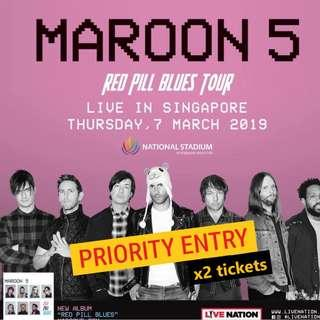 Maroon 5 Singapore [Standing Pen B - PRIORITY ENTRY] x 2