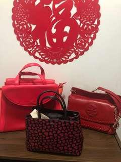 Red CNY leather authentic bags for sales