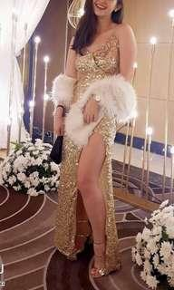 Gold Sexy Gatsby Gown with FUR for rent
