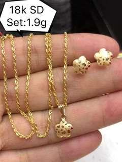 NECKLACE, EARRING WITH PENDANT SET