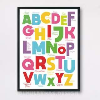 ABC Alphabets Poster Framed with Islamic related words