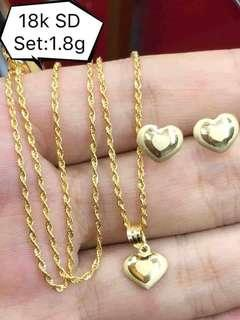 NECKLACE WITH HEART PENDANT AND EARRING